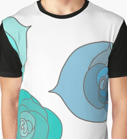 Blue Winter Roses Graphic T-Shirt