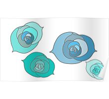 Blue Winter Roses Poster