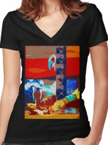 Caught in the Never. Women's Fitted V-Neck T-Shirt