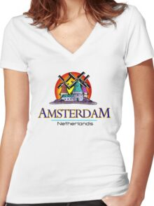 Amsterdam, The Netherlands Women's Fitted V-Neck T-Shirt