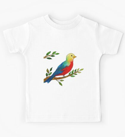 Watercolor colorful little bird on a branch Kids Tee