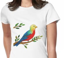 Watercolor colorful little bird on a branch Womens Fitted T-Shirt