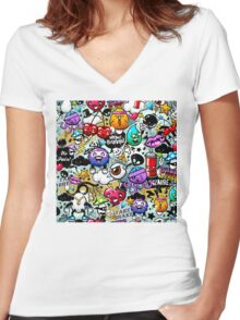 graffiti fun Women's Fitted V-Neck T-Shirt