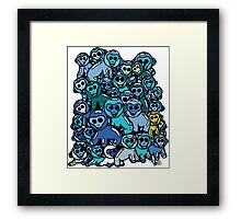 The Shiny Blue Monkey Pile Accepts the Odd Monkey Out Framed Print