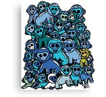 The Shiny Blue Monkey Pile Accepts the Odd Monkey Out Canvas Print