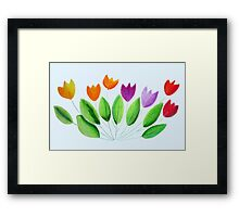 Seven colorful tulips Framed Print