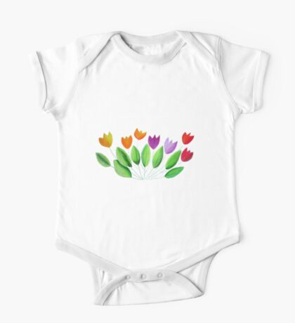 Seven colorful tulips One Piece - Short Sleeve
