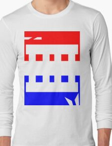 Contemporary Red Blue Design Long Sleeve T-Shirt