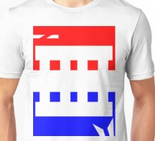 Contemporary Red Blue Design Unisex T-Shirt
