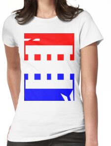 Contemporary Red Blue Design Womens Fitted T-Shirt