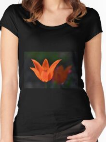 Backlit Orange Tulip Women's Fitted Scoop T-Shirt