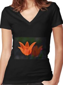 Backlit Orange Tulip Women's Fitted V-Neck T-Shirt