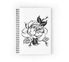 black and white tattoo peony Spiral Notebook