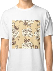 black and white tattoo peony Classic T-Shirt