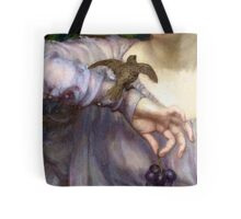 Closeup detail Victorian woman with bird, grapes, antique art Tote Bag