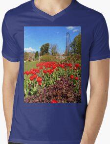 Red Tulips Mens V-Neck T-Shirt