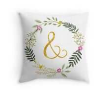 & Gold and Floral Leaf on white Throw Pillow