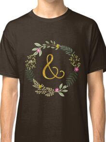 & Gold and Floral Leaf on Black Classic T-Shirt