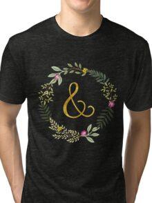 & Gold and Floral Leaf on Black Tri-blend T-Shirt