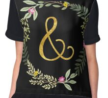 & Gold and Floral Leaf on Black Chiffon Top
