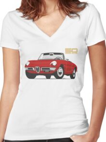 Alfa Romeo Duetto Series 1 Spider red Women's Fitted V-Neck T-Shirt