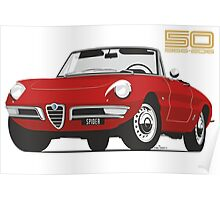 Alfa Romeo Duetto Series 1 Spider red Poster