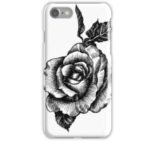 black and white tattoo rose drawing iPhone Case/Skin