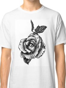 black and white tattoo rose drawing Classic T-Shirt