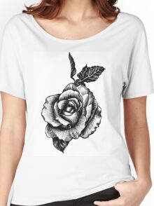 black and white tattoo rose drawing Women's Relaxed Fit T-Shirt