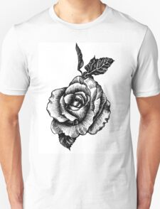 black and white tattoo rose drawing T-Shirt