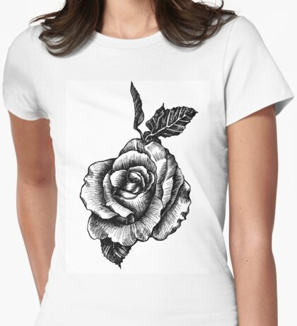 black and white tattoo rose drawing Womens Fitted T-Shirt