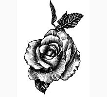 black and white tattoo rose drawing Women's Fitted Scoop T-Shirt