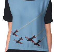 Planes On Blue Sky Chiffon Top