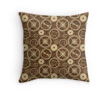 Brown Steampunk watch gears Throw Pillow