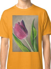 Spring blooming tulip flower original oil pastel painting Classic T-Shirt