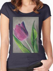 Spring blooming tulip flower original oil pastel painting Women's Fitted Scoop T-Shirt