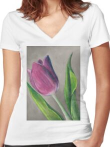 Spring blooming tulip flower original oil pastel painting Women's Fitted V-Neck T-Shirt