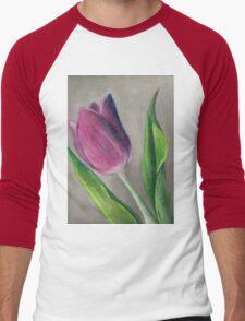 Spring blooming tulip flower original oil pastel painting Men's Baseball ¾ T-Shirt