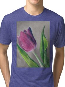 Spring blooming tulip flower original oil pastel painting Tri-blend T-Shirt