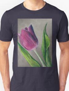 Spring blooming tulip flower original oil pastel painting Unisex T-Shirt