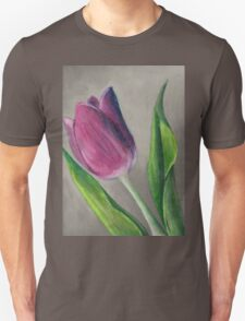Spring blooming tulip flower original oil pastel painting Unisex T-Shirt