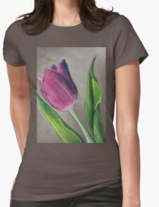 Spring blooming tulip flower original oil pastel painting Womens Fitted T-Shirt