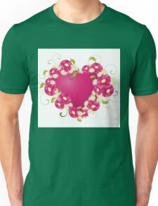 design with Floral heart  Unisex T-Shirt