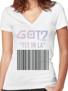 GOT7 Fly in LA (LOS ANGELES) Women's Fitted V-Neck T-Shirt