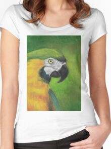 green and gold parrot macaw original oil pastel painting Women's Fitted Scoop T-Shirt