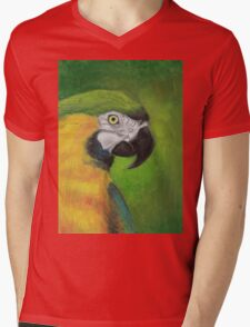 green and gold parrot macaw original oil pastel painting Mens V-Neck T-Shirt