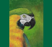 green and gold parrot macaw original oil pastel painting Unisex T-Shirt