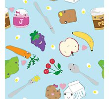 Kawaii Happy Snacks Toss Photographic Print