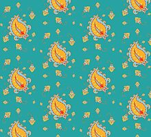 Seamless pattern with paisley and flowers by ativka