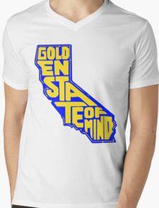 Golden State of Mind Blue/Yellow Mens V-Neck T-Shirt